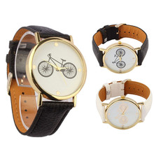 2016 new stylish and elegant simplicity and practical Unisex Fashion Bicycle Pattern Dial Leather Band Quartz Analog Wrist Watch