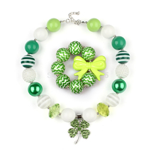 2017 Baby St.Martin's day Jwelery Set Chunky Bubbelgum Necklace Green Leaf Pendant Kids Children Necklace Dress Up