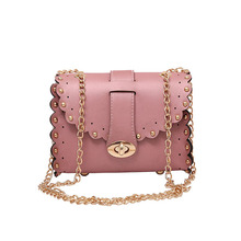 2017 Fashion Mini Chain Shoulder bag Party Vintage Women Pink Leather Messenger bag Cute Rivet lady Crossbody Bag Bolsa Feminia