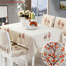 Hot Sale Tablecloths New Christmas Tree Thicker Cotton Linen Tablecloth Rectangular Round Table Cloth Table Cover