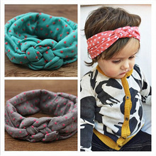 Soft Headwear Cross Hairband Turban Knitted Knot Headband Kids Hair bands Newbown Hair Accessories w--146(China)