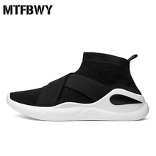 Buy Men's sneakers new design slip-on black high-top Sock-Like shoes men walking shoes footwear size 39-44 2036s for $25.50 in AliExpress store