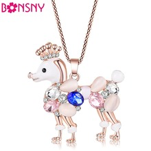 Buy Bonsny Poodle dog necklace opal pendant animal cat eye crystal chain new 2016 zinc alloy girl women fashion jewelry accessories for $4.67 in AliExpress store