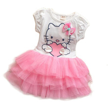 2017 summer style girls dress Hello kitty cartoon KT wings tutu dress bow veil Kids love children's clothing DS01(China)