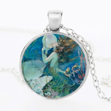 Fashion 2017 Vintage Marine Mermaid Photo Cabochon Glass silver Bronze Chain Pendant Necklace