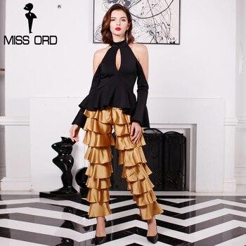 Missord 2017 en cascada Sexy cremallera tela de satén pantalones FT4944