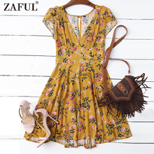 ZAFUL Floral Plunging Neck Cut Out Dress - Yellow Women Summer V Neck A Line Cotton Bohemian Mini Dress Short Sleeves Dresses(China)