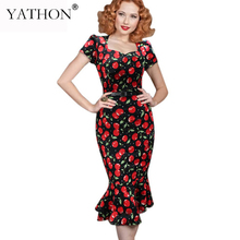 YATHON Women Mermaid Evening Party Dresses Chic Vintage Elegant Bandage Autumn Chreey Print Stretch Swining Prom Casual Dress