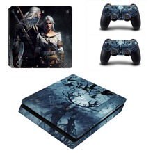 The Witcher 3 PS4 Slim Skin Stickers Wrap for Sony PlayStation 4 Slim Console and 2 Controllers Decorative Skins