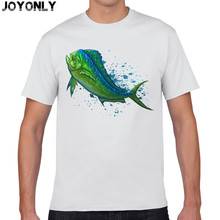 Joy Only Cartoon Green Color Fish Printed T-Shirt 100% Cotton T Shirt Mens Fashion T Shirts Casual Clothing Fitness Tshirt TA40