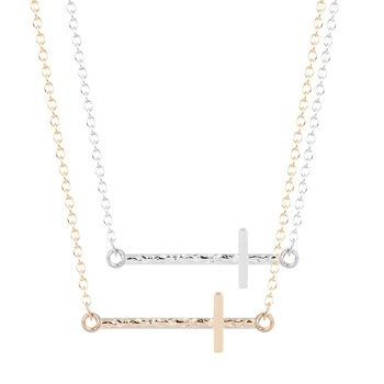 QIMING Simple Off centered Sideways Cross Pendants Necklace Vintage Chocker Necklace for Women and Girls