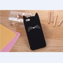 For iPhone 5 5s 6 6s 7 Case Cute Cartoon Cat Cases 3D Silicone Soft Back Cover Black Pink Phone Shell Funda For iPhone 5s    B77