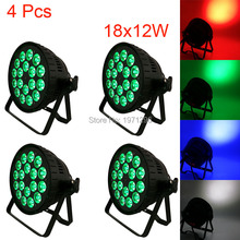 4 Pcs18x12W 4IN1 RGBW Led Par Can Light DMX Stage Lights Business Par Lights Professional Par Can for Party KTV Disco DJ Lamp