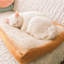 High quality Pet Cat Small Dog Toast Cushion Sofa Home Soft Warm Mat Sleeper Pad Washable Pet Supplies Kittens Special Bed(China)