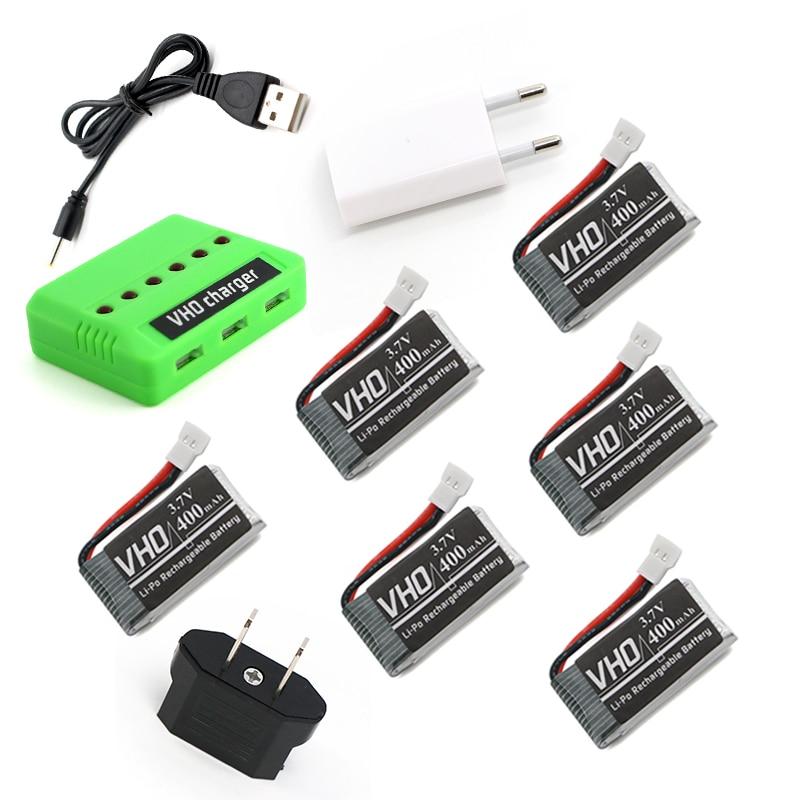 VHO 6PCS 3.7V 400mah Lipo battery and charger box+EU charger For JJRC H31 Spare Parts H31-011 3.7V 400mah JJRC H31 XH plug 30C<br>
