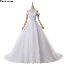 Elegant vestidos de novia 2017 Bride wedding dress ball gown cap sleeve Princess wedding gowns robe blanche mariage brautkleid(China)