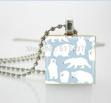 1 pc Polar Bear Necklace Winter Christmas Jewelry Scrabble Tile Pendant Christmas Gift necklace