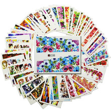 SWEET TREND 48Sheets Flower/Lady Water Nail Stickers Water Transfer Nail Art Decals Beauty Full Wraps Manicure Decor LAA145-192