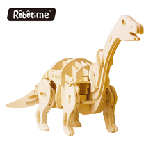 New Animatronic Dinosaur DIY 3D Wooden Puzzle Toys Learning Mini Apatosaurus Creative Imagination Walking Animal-Sound Control(China)