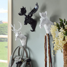 Creative Animal Head Decoration Hook Resin Crafts Individual Deer Head Wall Hanging Hook Decorative Hanger Tool Hanger Door Hook