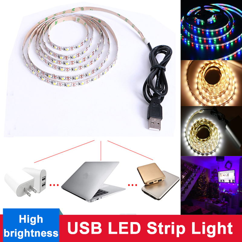5V LED Strip USB Cable Power Flexible Light RGB /White/Warm White 1M 3M 5M HDTV TV Desktop PC Screen Backlight & Bias lighting