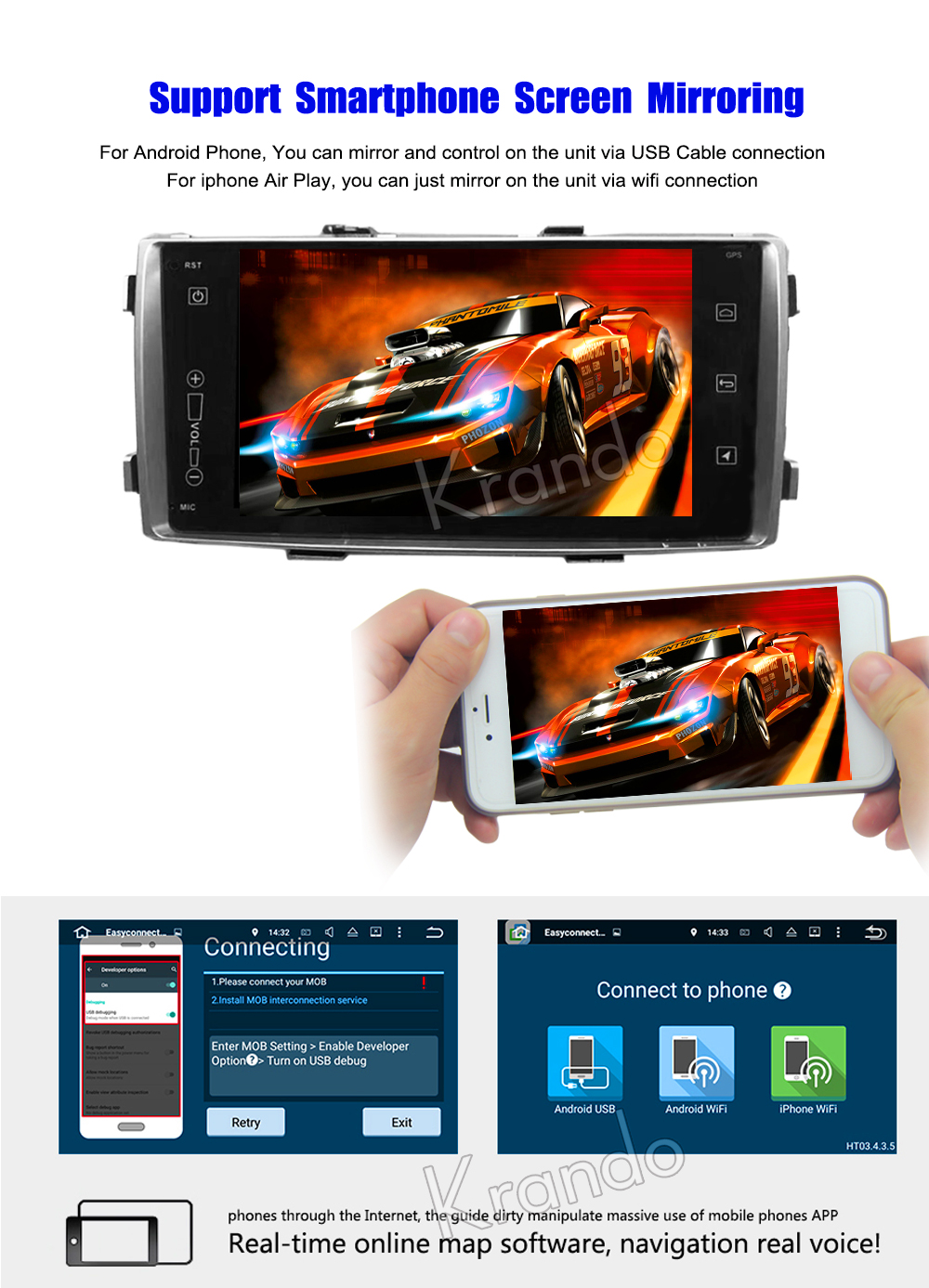 Krando Android car radio gps navigation multimedia system for toyota Hilux 2013 2013 2014 7