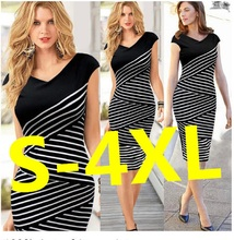 Women Summer Dress 2017 Sexy Hip  Pencil Dress Plus Size Casual Long Stripe Dress Sheath Party Dress Vestidos de festa Clothing