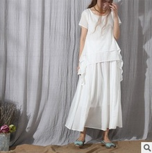 Product release in the summer of 2015, the original design 100% cotton linen women dress with short sleeves loose big yards