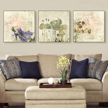 Watercolor Painting Purple Flower Canvas Oil Paint Office Decoration Floral Prints Wall Art Decor no Frame Vintage background