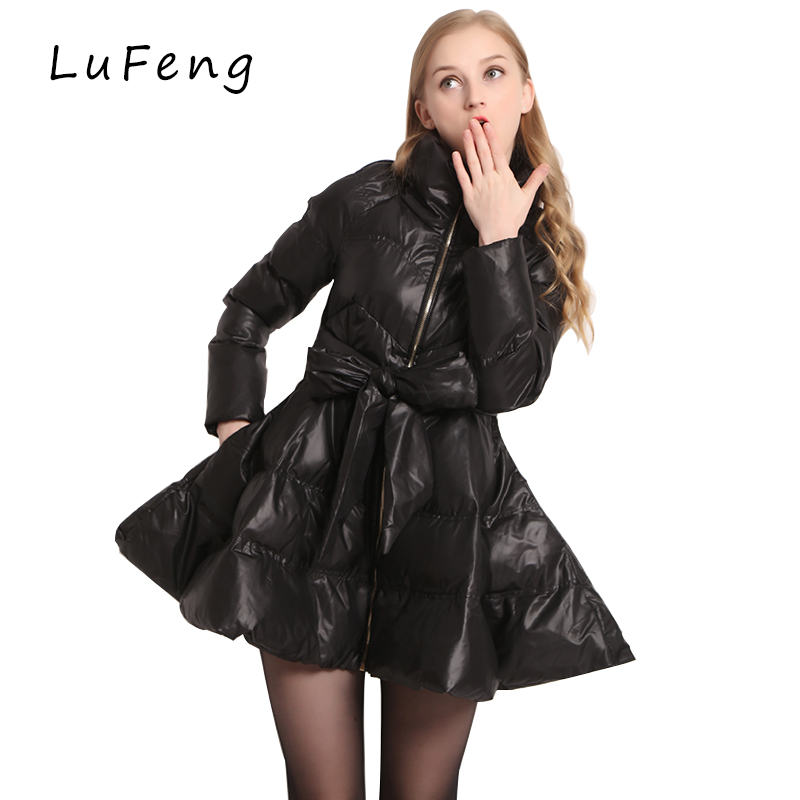 New Arrival Bow Waist Fluffy Skirt A Warm Coat Jac...