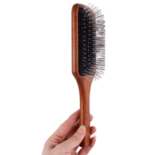 Wood hair brush Pointed Handle Steel Teeth airbag comb Scalp Massage Brush Hair anti-static Airbag wooded Comb J17