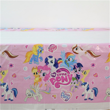 plastic disposable tablecover supplies my little pony cartoon theme tablecloth kids girls happy birthday party 108*180cm(China)