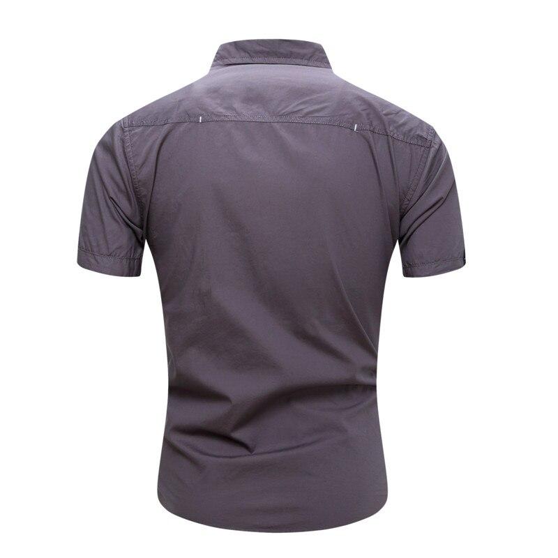 2018 New Men Cargo Shirt Casual 100% Cotton Man Solid Color Short Sleeve Shirts Work Shirt US Size S-XXXL (7)