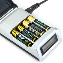 Original C905W 4 Slots LCD Display Smart Portable Battery Charger for AA / AAA NiCd NiMh Rechargeable Batteries EU US Plug