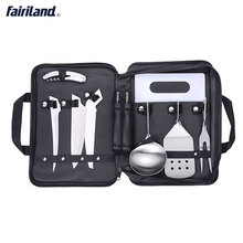 BBQ tools Cookware 8 Pieces Kit Cookset Backpacking Gear & Hiking Outdoors Cooking Equipment camping bbq with storage case