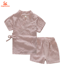 AngelZinchee 2017 Sports Costume For Boys Cotton Linen Summer Tracksuit Children's Clothing T-shirt+ Boy Shorts Kids Clothes