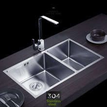 Handmade kitchen sink Stainless steel brushed double bowl Wire drawing process seamless welding sinks 760x430mm free shipping(China)