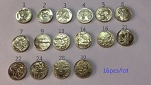 Hobo Nickel Coins 16pcs 1937-D 3-Legged Buffalo high quality(China)