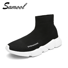 brand High Top Men Casual Shoes Slip On Male Fashion Footwear Walking 2018 spring Sock Shoes Mens Breathable zapatos hombre xxz5(China)