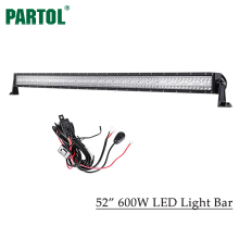 "Partol 52"" 600W 3-Row LED Light Bar Offroad Led Bar Combo Beam Driving Work Light for Tractor Boat 4WD 4x4 Car Truck 12V 24V(China)"