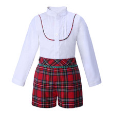 Pettigirl Christmas Boys Clothing Sets White shirt And Grid Shorts Boutique Children Clothing Outfit B-DMCS007-A143(China)