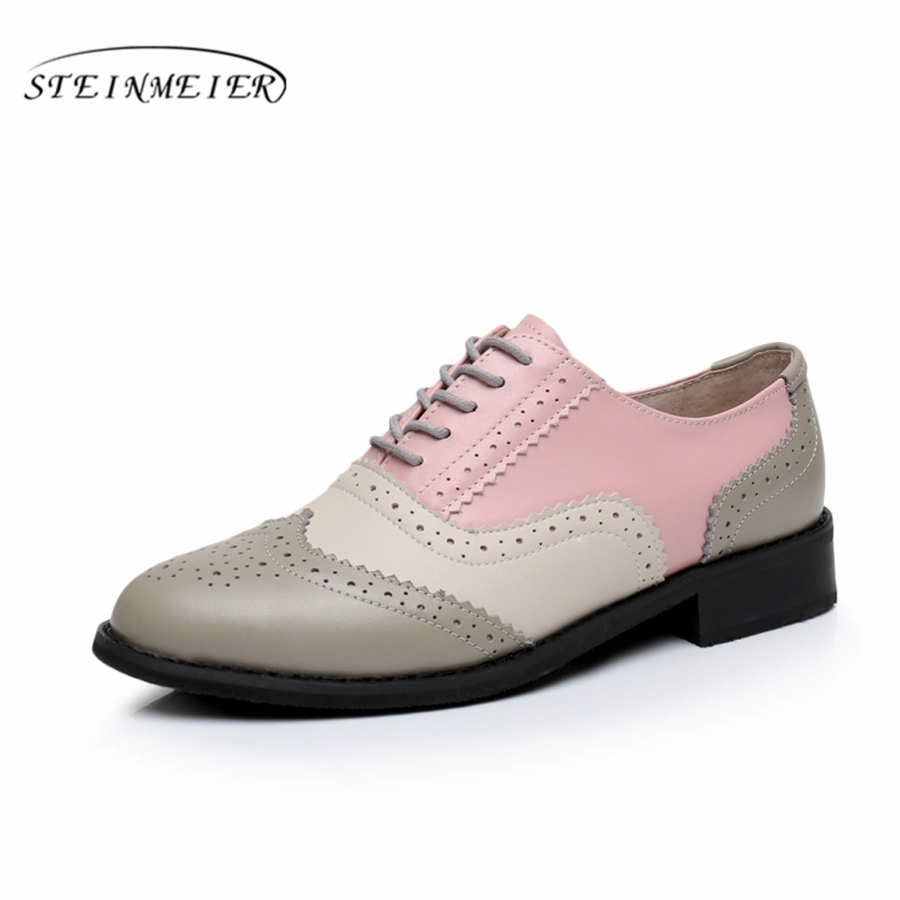 Genuine leather big woman US size 10 designer vintage flats shoes handmade pink beige gray oxford shoes for women<br>