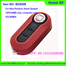 BX500B FIAT style  red color flip remote key for new Positron Cyber EX300 alarm  with 433.92MHz, computer code