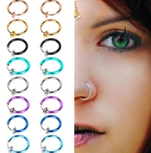 1Pair Stylish Fake Spring Action Non Piercing Nose Septum/Ear Cartilage Ring Women Body Jewelry Accessories Earring Wholesales