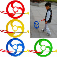 Plastic Hot Wheel Roll Hoop Single-rod Hand-Pushed Toys Kids kindergarten Outdoor Rolling Circle Race Game(China)