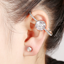 1PC New Zirconia Big Round Ear Cuff Clip Cartilage Women Earring Ear Clip Fashion Jewelry High Quality