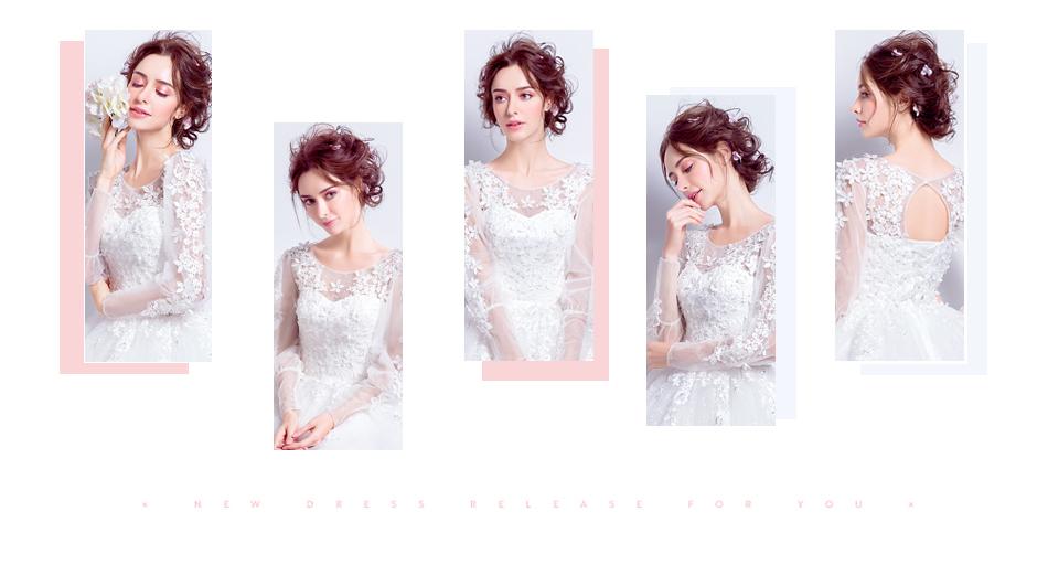 Angel Wedding Dress Marriage Bride Bridal Gown Vestido De Noiva 2017 Sweet, lace, flowers, long sleeves, 6011 2
