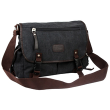 Vintage Men Canvas Shoulder Bag Satchel Casual Crossbody Messenger School Bag, Black