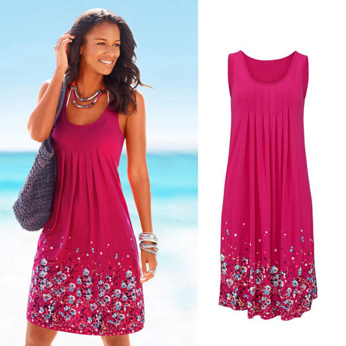 Sleeveless Floral Print Loose Beach Summer Dress Fashion Six Colors Casual Women Dress 19 Sexy Dress Plus Size S-5XL 5