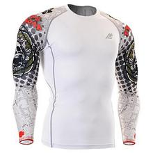 White Mens football Underwear Long Sleeve Football Jerseys base layer Skins Compression Shirt Body Building Printing Skull(China)